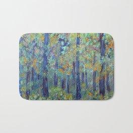 Impressionism Landscape Tree Forest, Rustic Art Home Decor Bath Mat