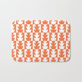 Art Deco Jagged Edge Pattern Orange Bath Mat