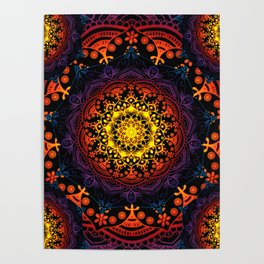 'Bohemian Summer' Multi-Coloured Mandala Poster