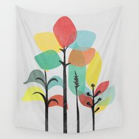 gray Wall Tapestries featuring Tropical Groove (gray) by Picomodi