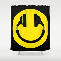 headphones Shower Curtains featuring Smiley Headphones by monoclekitty