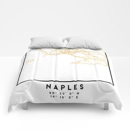 NAPLES ITALY CITY STREET MAP ART Comforters