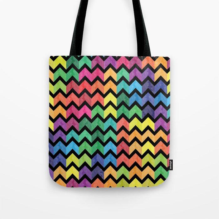 Watercolor Chevron Pattern V Tote Bag