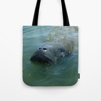 manatee Tote Bags featuring Mister Manatee by Mister Groom