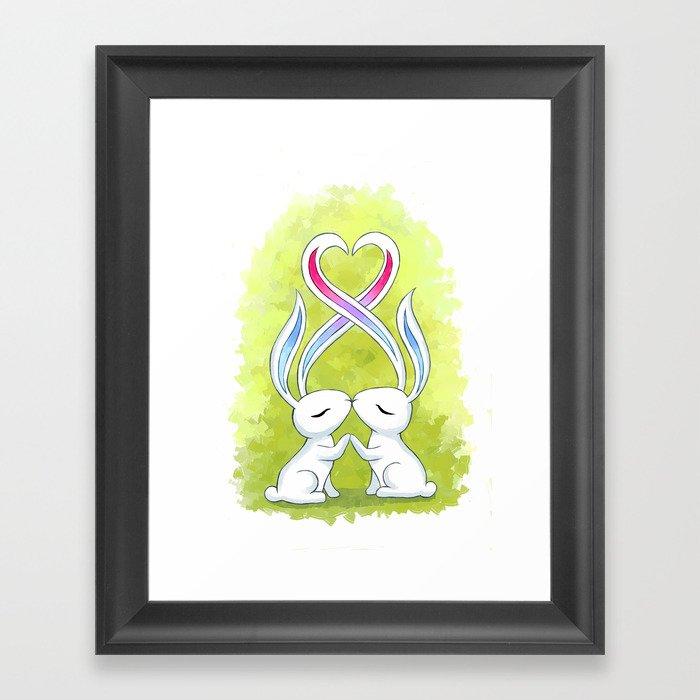 Bunny Kiss Framed Art Print