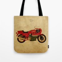 ducati Tote Bags featuring Ducati 900 MHR 1980 by Larsson Stevensem