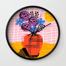 Just Kidding - memphis retro 80s throwback modern still life abstract floral flower vase Wall Clock