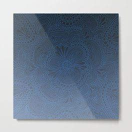 Crazy Blue Pattern Metal Print