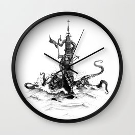 Winstanley Lighthouse with Kracken Wall Clock