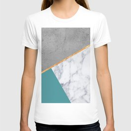 MARBLE TEAL GOLD GRAY GEOMETRIC T-shirt