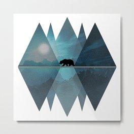 Geometric Nature Bear Metal Print
