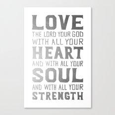 (White/Silver) Heart Soul Strength Canvas Print