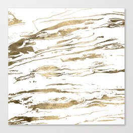 Gold abstract marbleized paint Canvas Print