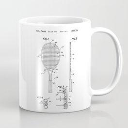 Tennis Racket Patent Coffee Mug