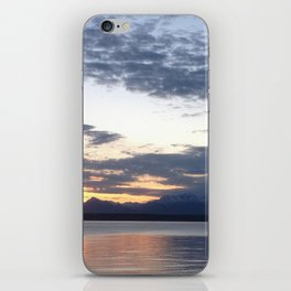 Mountain sunset on the water iPhone Skin
