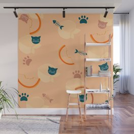 Cat loves Peaches Wall Mural