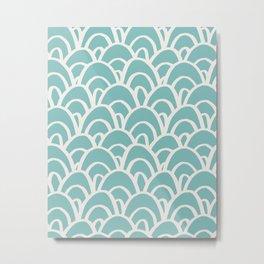 Hand Drawn Mermaid Scales Pattern - Turquoise Metal Print
