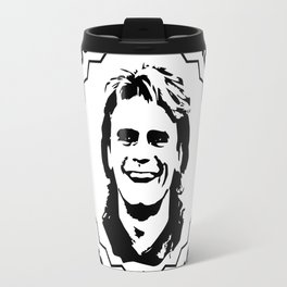 """MacGyver quote: """"We're all gonna die. The trick is not to rush it."""" Travel Mug"""