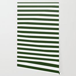 Large Dark Forest Green and White Cabana Tent Stripes Wallpaper