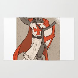 Knight Templar with Sword in Hand Rug