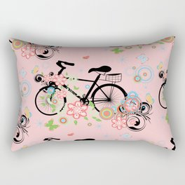 Bicycle and Colorful Floral Ornament Rectangular Pillow