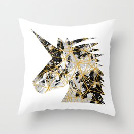 Emoji Unicorn in Geometric Splash Throw Pillow