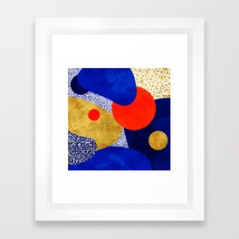 Terrazzo galaxy blue night yellow gold orange Framed Art Print