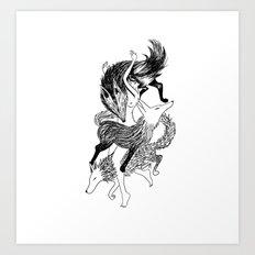 Femme Loup Tattoo Art Print