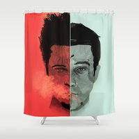tyler durden Shower Curtains featuring Tyler Durden V. the Narrator by qualitypunk