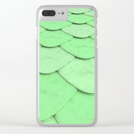 Pattern of green rounded roof tiles Clear iPhone Case