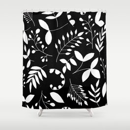 Laurels - Black & White Shower Curtain