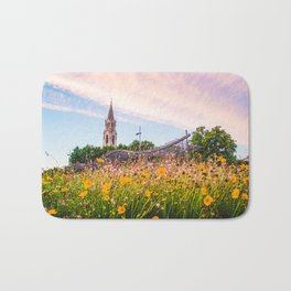 Field of Yellow Flowers With Chapel | French Riviera Europe City Urban Landscape Photography Bath Mat