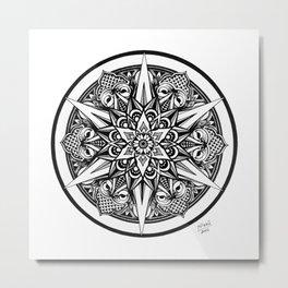 Art Print of Black White Mandala hand-drawn in Ink, Beautiful Soul Design, Circular Geometric Art Metal Print