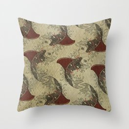 ying and yang shark fin goldfish pattern Throw Pillow
