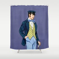 hipster Shower Curtains featuring Hipster by Tom Tierney Studios