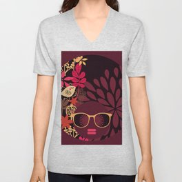 Afro Diva : Sophisticated Lady Deep Pink & Burgundy Unisex V-Neck