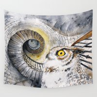 labyrinth Wall Tapestries featuring Ocular Labyrinth by Clockwork Art