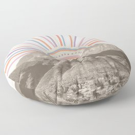 Summerlin Mountain // Abstract Vintage Mountains Summer Sun Vibe Drawing Happy Wall Hanging Floor Pillow