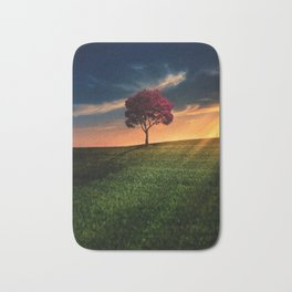 Pretty Landscape with a Red Tree at Sunset Bath Mat
