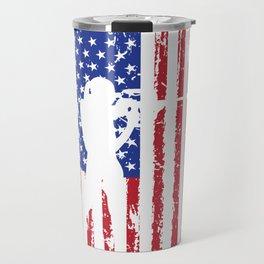 Biathlon Racing US Flag design Skiing Rifle Shooting Race Travel Mug