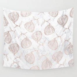 Modern girly rose gold hand drawn floral white marble pattern Wall Tapestry