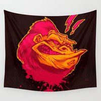 ape Wall Tapestries featuring SHREWD APE by BeastWreck