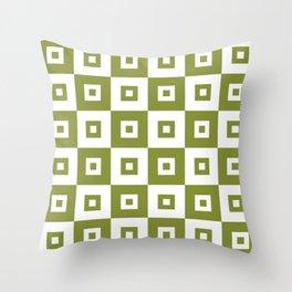 Retro Mid Century Modern Square Pattern Olive Green Throw Pillow