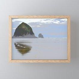 Illustrated Haystack Rock Framed Mini Art Print