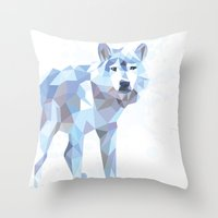 low poly Throw Pillows featuring Low Poly Wolf by idrux