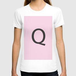 Letter Q Initial Monogram - Black on Cherry Blossom T-shirt