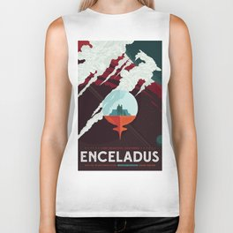 NASA Retro Space Travel Poster #3 - Enceladus Biker Tank