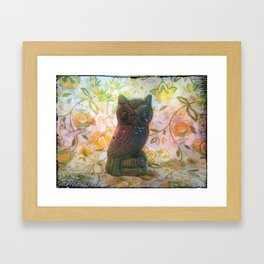 Owl with yellow floral background Framed Art Print