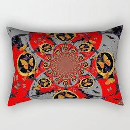 BUTTERFLIES &  BLACK BATS  RED ART Rectangular Pillow