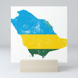Distressed Rwanda Map Mini Art Print